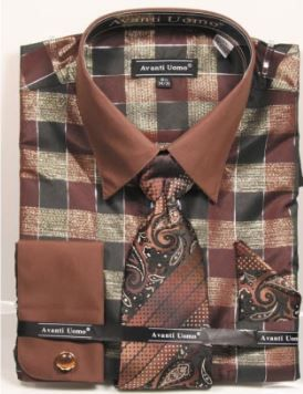 Avanti Uomo Men's Outlet French Cuff Dress Shirt Set - Multi Color Checkered