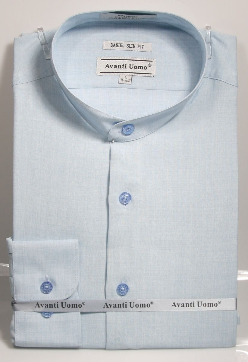 Avanti Uomo Men's Slim Fit Dress Shirt Set - Banded Collar