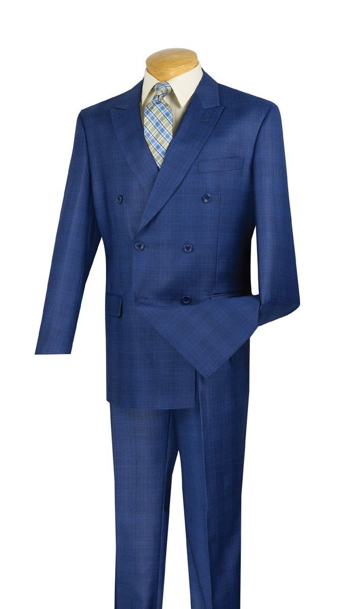 Mens Double Breasted Peak Lapel Plaid Suit 2 Piece Set Wool Blend Blazer /& Trousers