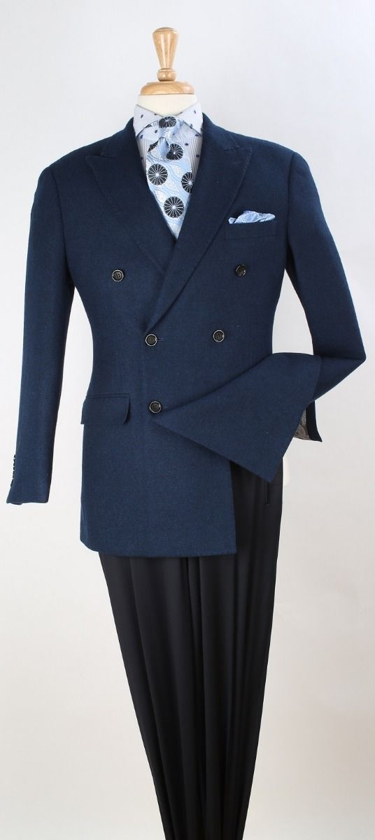 Apollo King Men's 100% Wool Sport Coat - Fashion Double Breasted