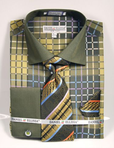 Daniel Ellissa Men's Outlet French Cuff Shirt Set - Colorful Geometric