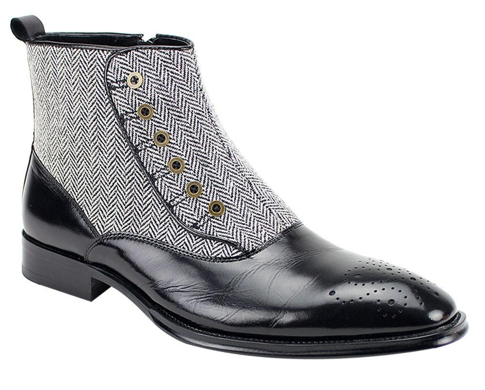 Giovanni Men's Leather Dress Boot - Real Wool Tweed w/ Buttons