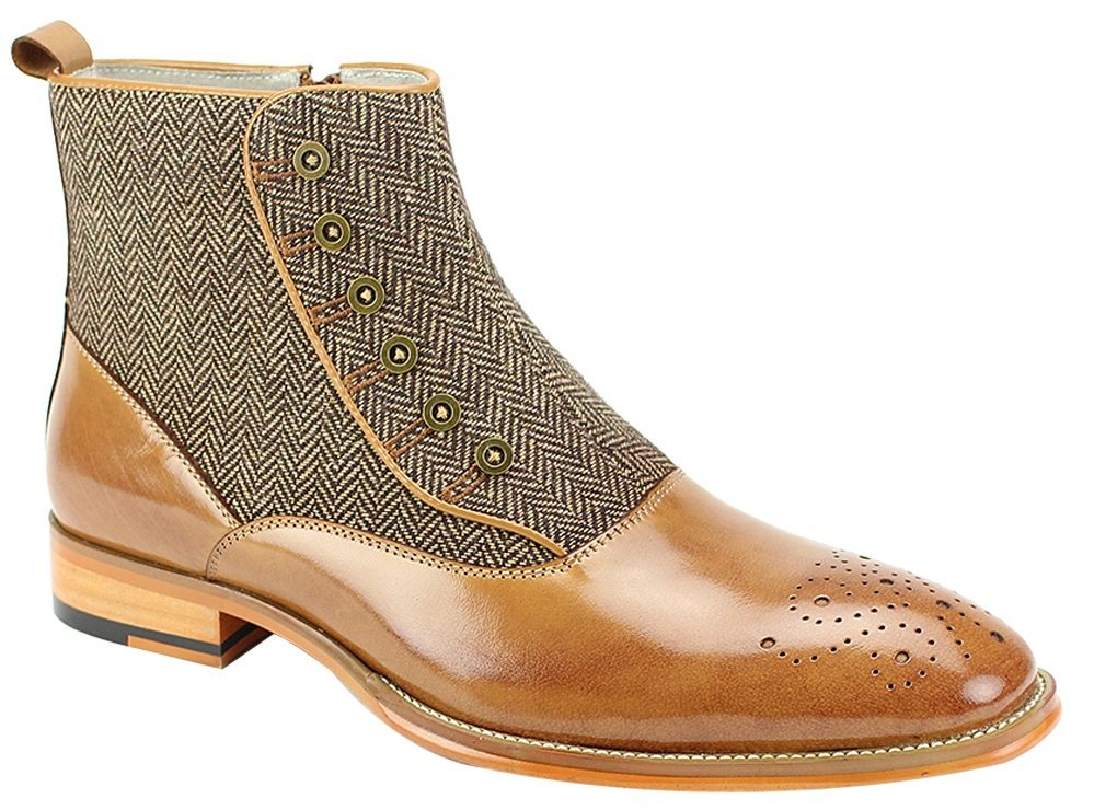Giovanni Men's Leather Outlet Dress Boot - Real Wool Tweed