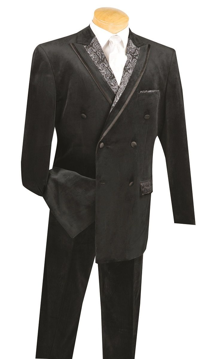 Vinci Men's 2 Piece Double Breasted Fashion Suit - Velvet