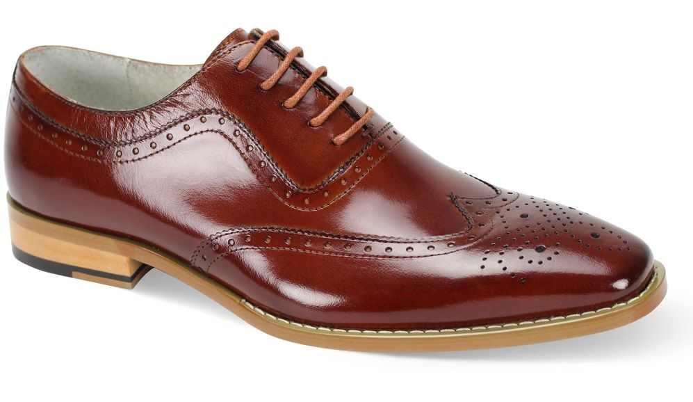 Giovanni Men's Leather Dress Shoe - Executive Wing Tip