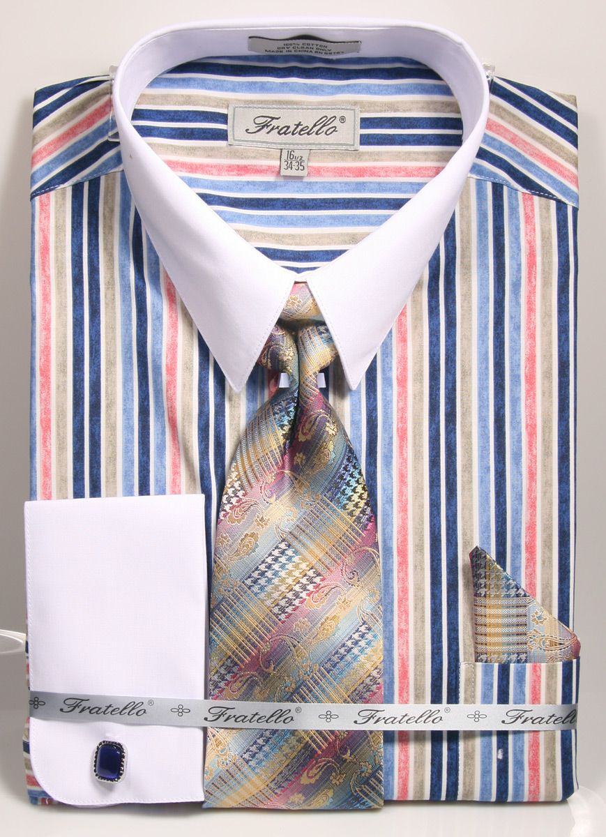 Fratello Men's 100% Cotton French Cuff Dress Shirt Set - Artistic Stripes