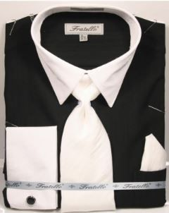 Fratello Men's French Cuff Dress Shirt Set - Accented Two Tone