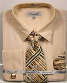 Fratello Men's French Cuff Dress Shirt Set - Tone on Tone Shirt