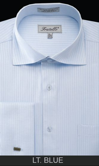 Fratello Men's Outlet French Cuff Dress Shirt - Classic Stripe