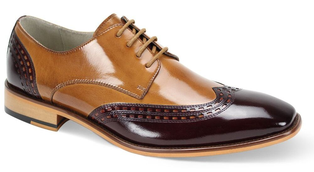 Giovanni Men's Leather Dress Shoe - Two Tone Wing Tip