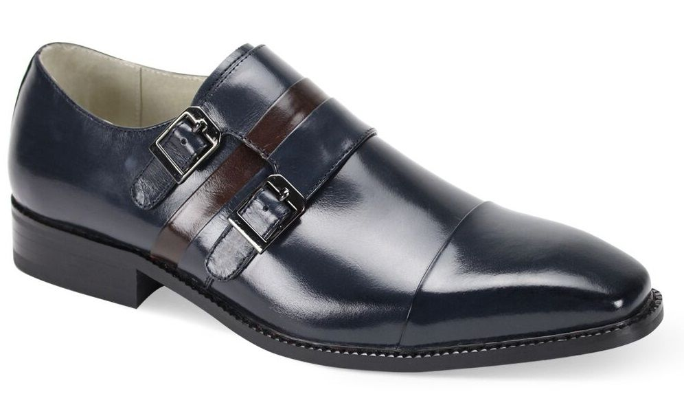 Giovanni Men's Leather Dress Shoe - Two Tone Double Buckle