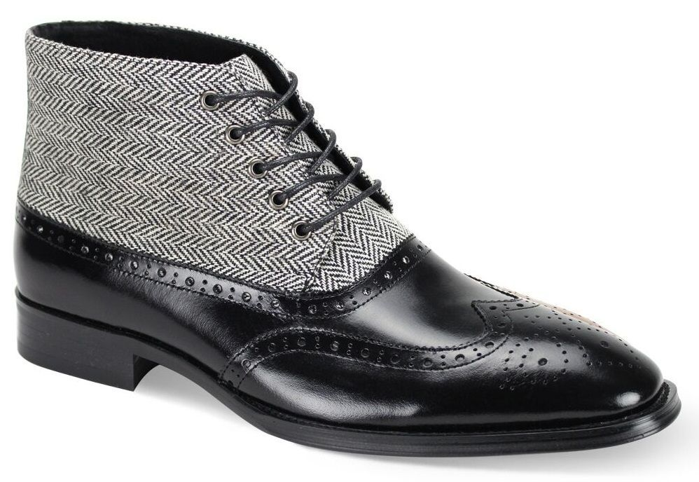 Giovanni Men's Outlet Leather Dress Boot - Wool Tweed and Leather