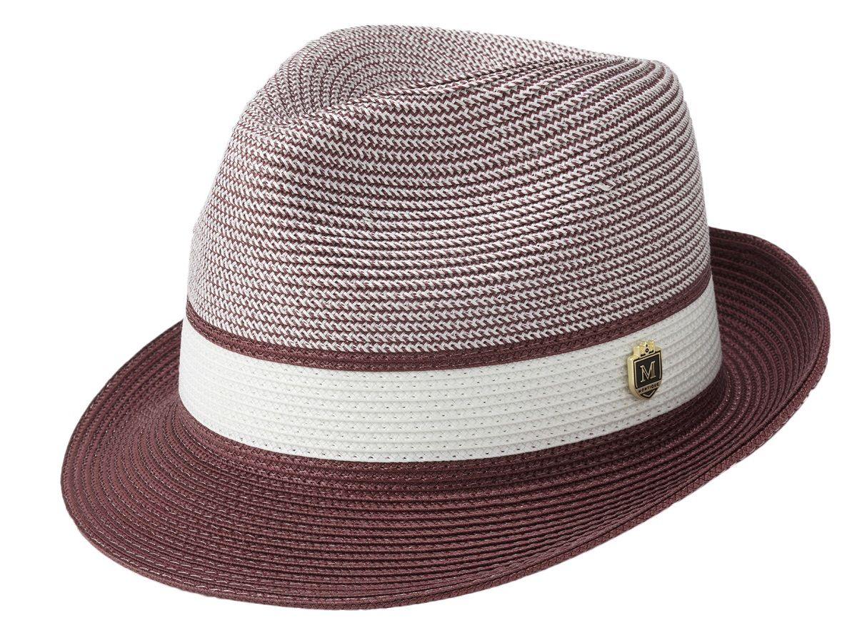 Montique Men's Fedora Style Straw Hat - Fashion Two Tone