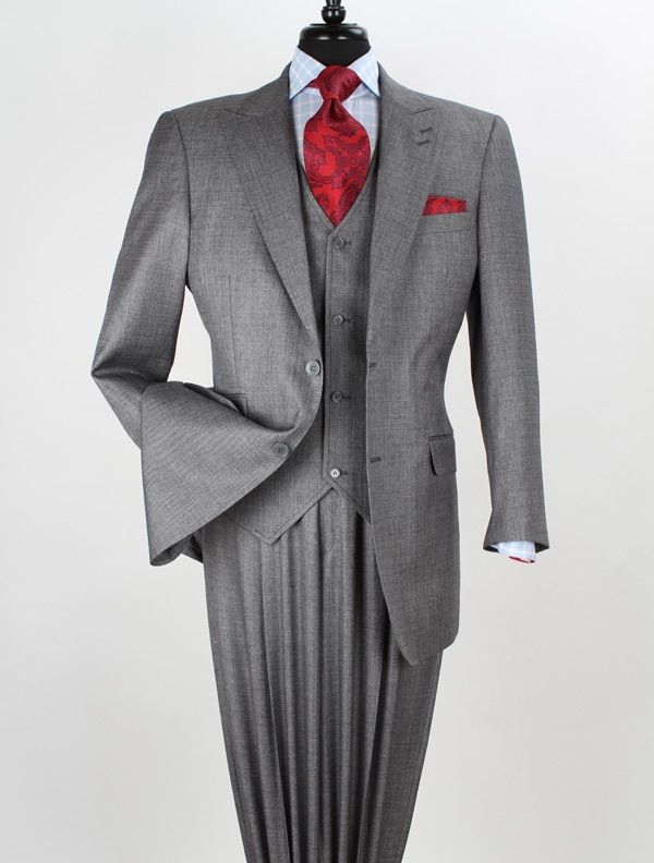 Apollo King Men's 3 Piece Wool Feel Fashion Outlet Suit - 2 Button