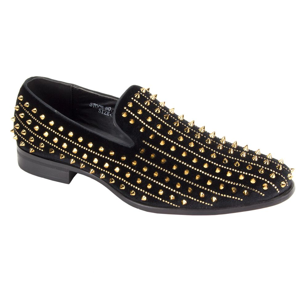 After Midnight Men's Velvet Dress Shoes - Spikes and Studs