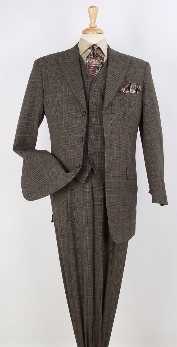 Tony Blake Men's 3 Piece Fashion Outlet Suit - Year Round Plaid