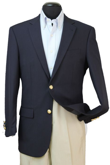 Loriano Men's Wool Blend Outlet Blazer - Gold Buttons