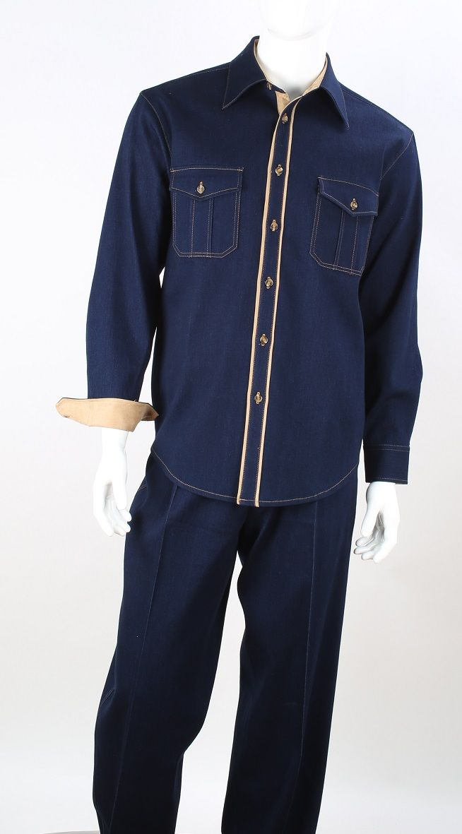 Royal Diamond Men's 2 Piece Long Sleeve Denim Walking Suit - Light Accents