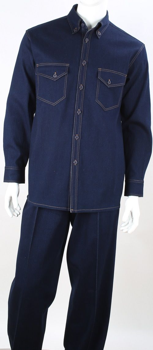 Royal Diamond Men's 2 Piece Long Sleeve Denim Walking Suit - Classic Denim