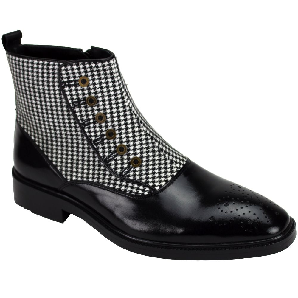 Giovanni Men's Leather Dress Boot - Wool Felt Accent