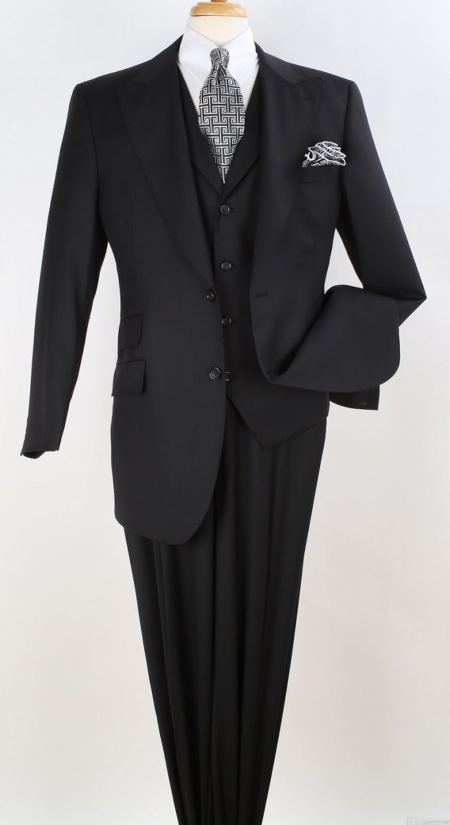 Apollo King Men's Outlet  3pc 100% Worsted Wool Suit - Peak Lapel