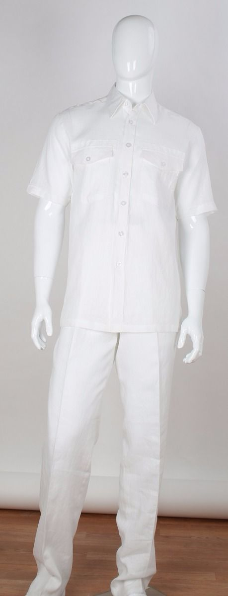Apollo King Men's Outlet 2pc Short Sleeve Walking Suit - 100% Linen