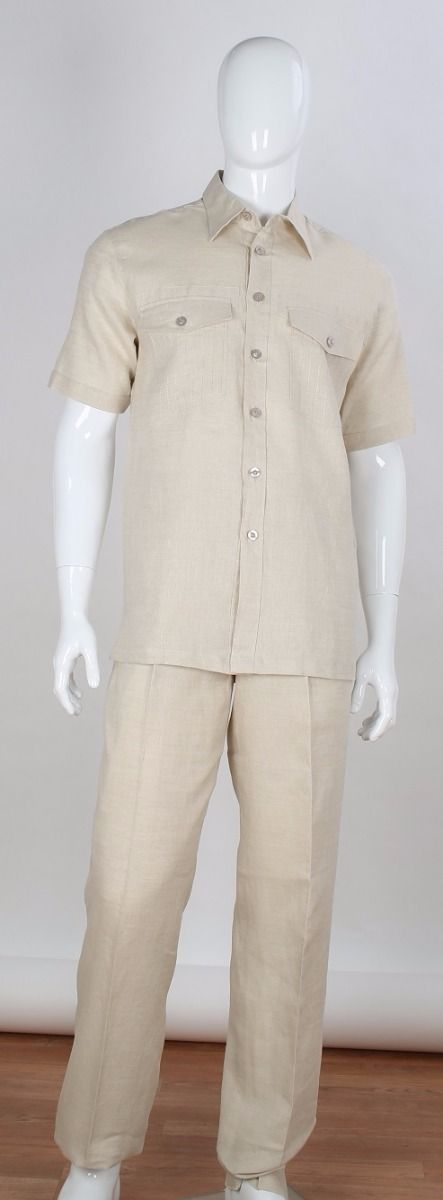 Apollo King Men's 2pc Short Sleeve Walking Suit - 100% Linen
