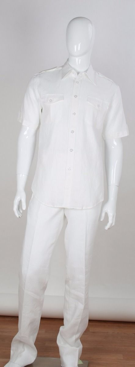 Apollo King Men's Short Sleeve Walking Suit - 100% Linen