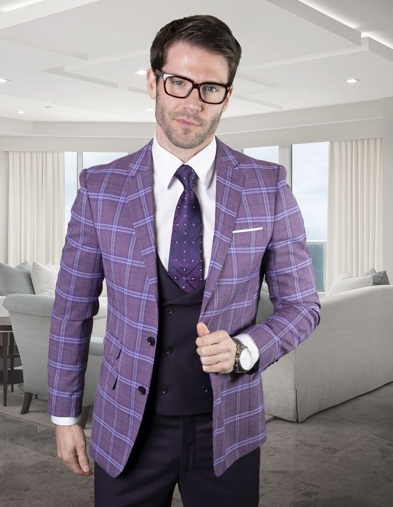 Statement Men's 100% Wool 3 Piece Suit - Vibrant Windowpane