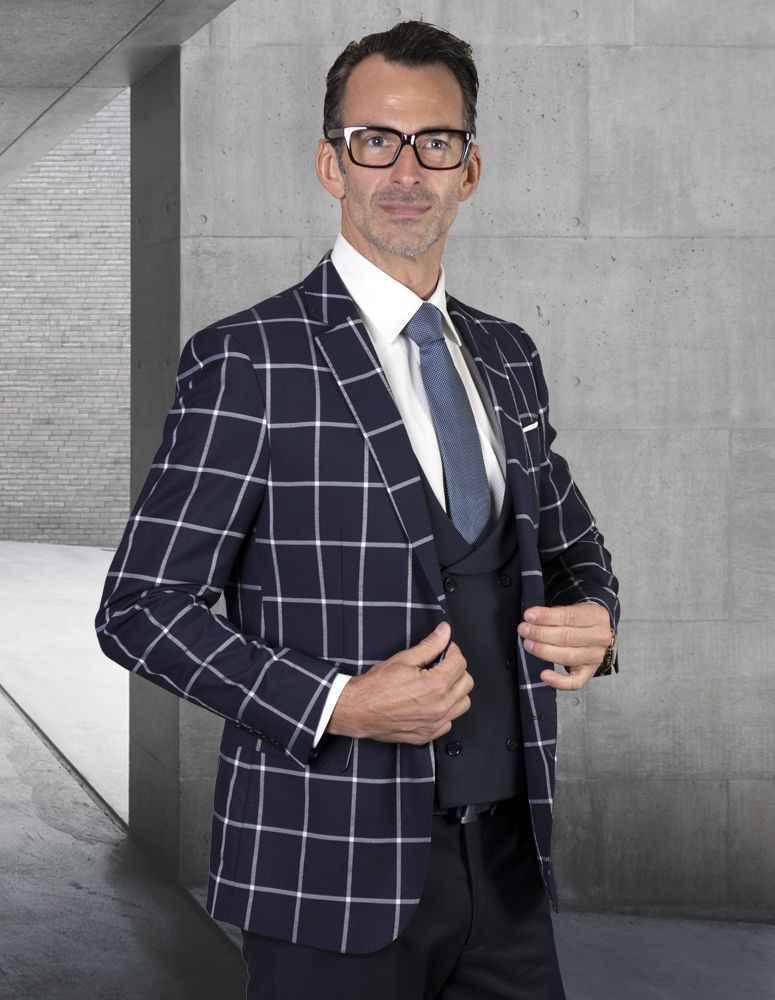 Statement Men's Outlet 100% Wool 3 Piece Suit - Solid Windowpane