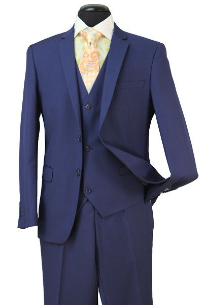 Loriano Men's 3 Piece Ultra Slim Fit Outlet Suit - 2 Button