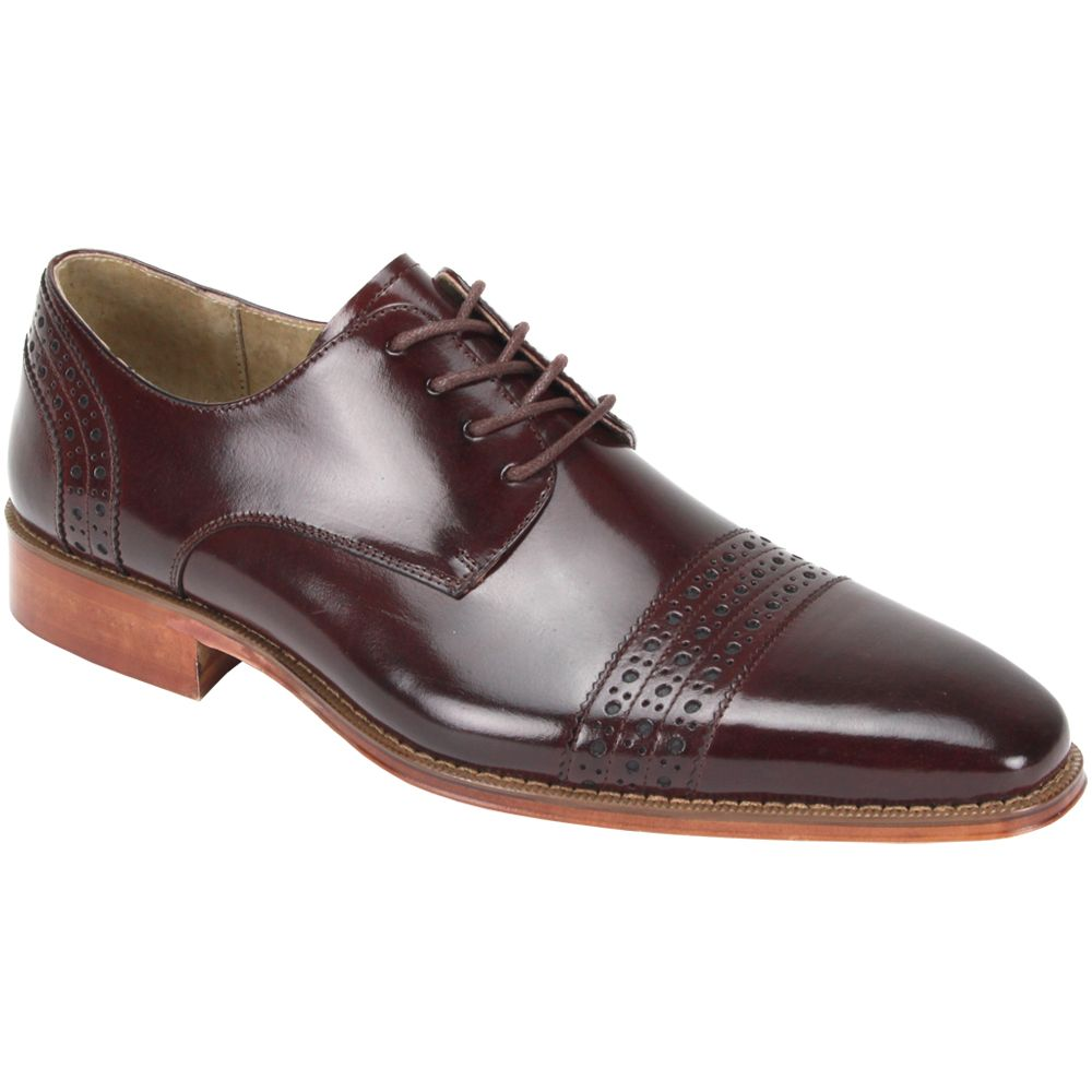 Giovanni Men's Leather Dress Shoe - Triple Perforated Stripe