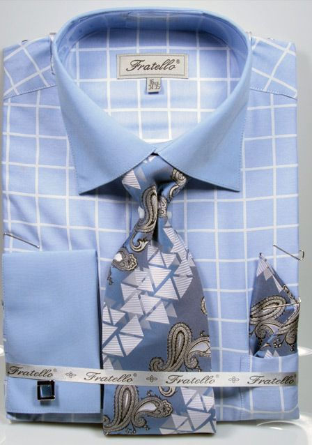 Fratello Men's Outlet French Cuff Dress Shirt Set - Check Pattern