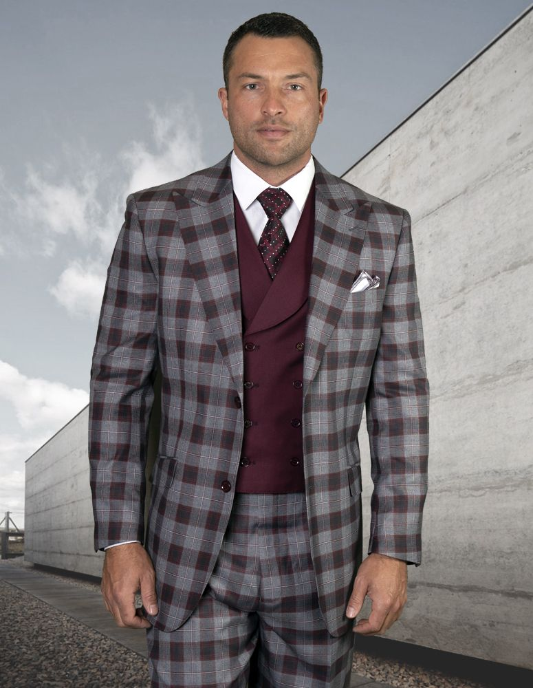 Statement Men's 100% Wool 3 Piece Suit - Overlapping Patterns