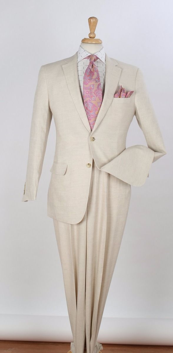 Apollo King Men's 2pc Executive Suit - 100% Linen