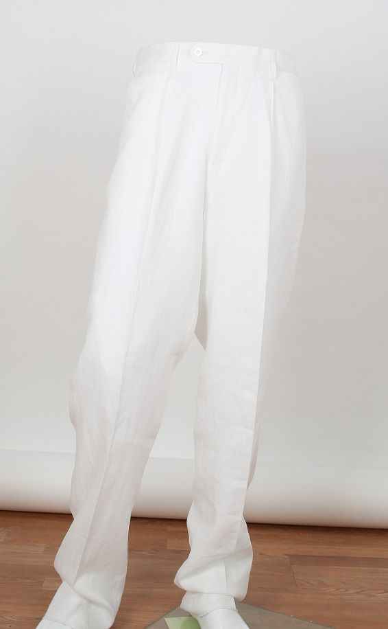 Apollo King Men's Outlet 100% Linen Pants - Classic Pleated Style