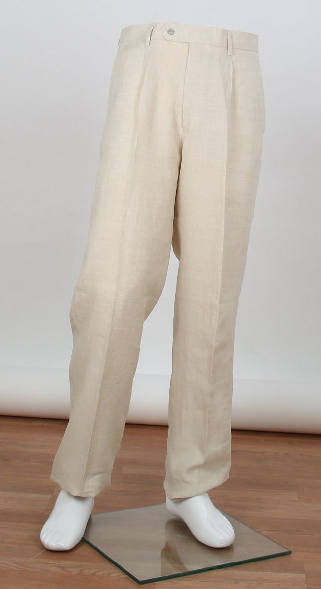 Apollo King Men's 100% Linen Pants - Classic Pleated Style