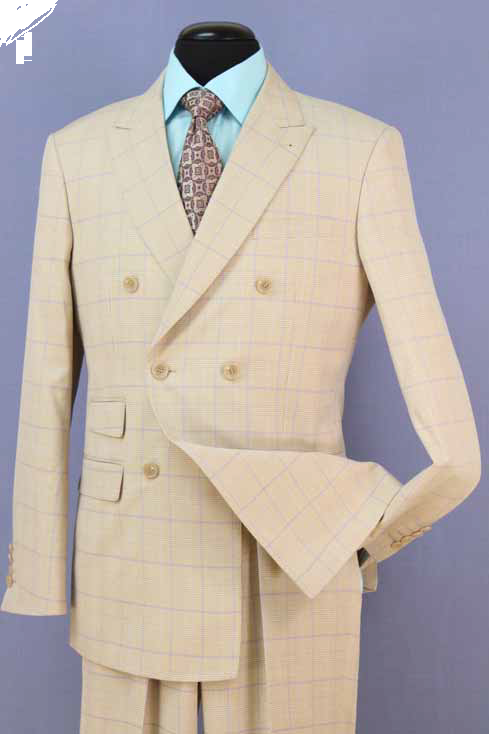 Loriano Men's Outlet 2 Piece Wool Blend Double Breasted Suit - Windowpane