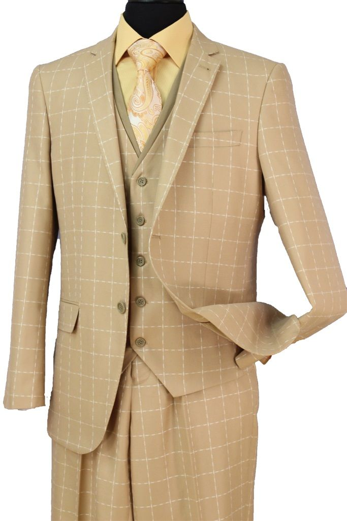 Loriano Men's 3 Piece Wool Blend Outlet Suit - Patterned Checker