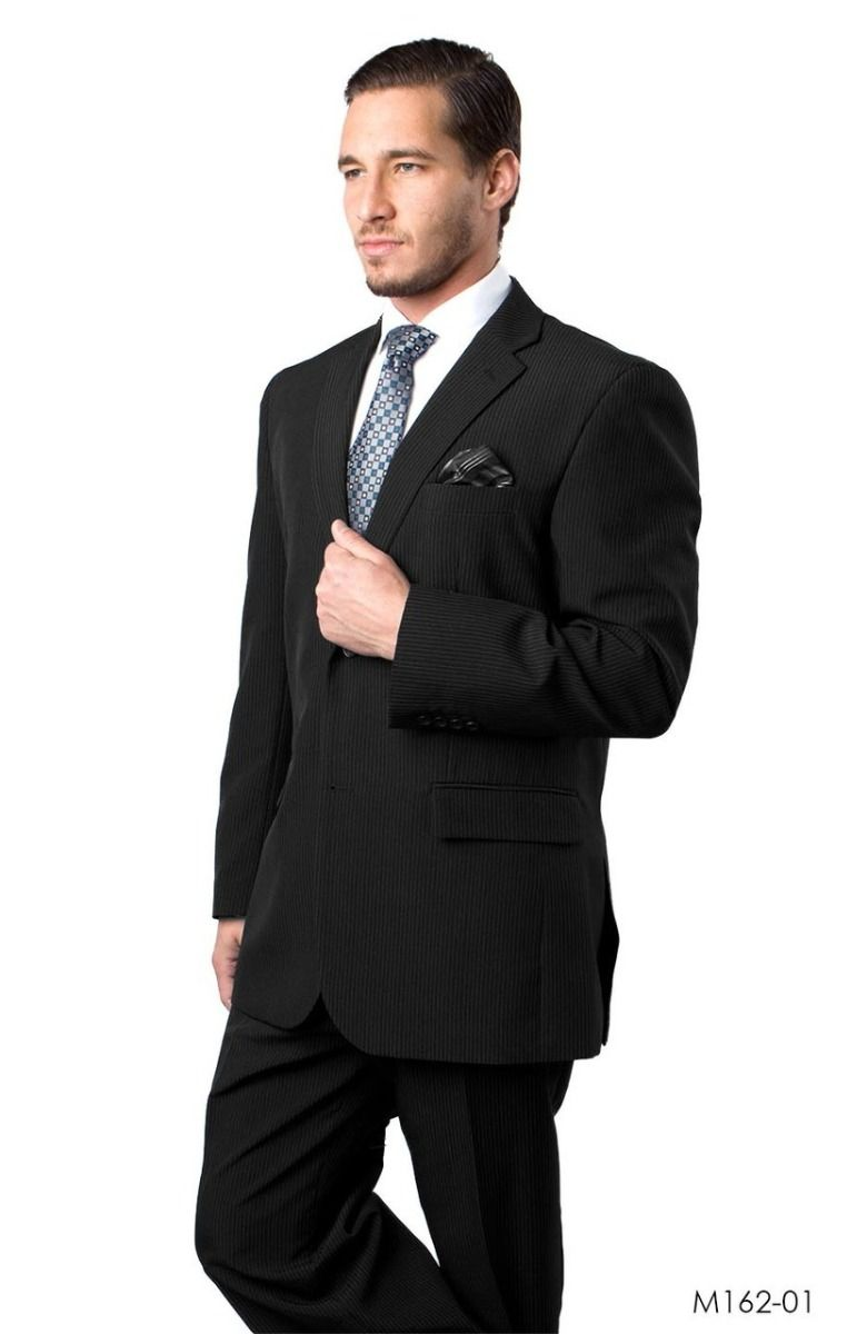 Vitto Men's 2 Piece Tailored Fit Pinstripe Suit - Side Vents