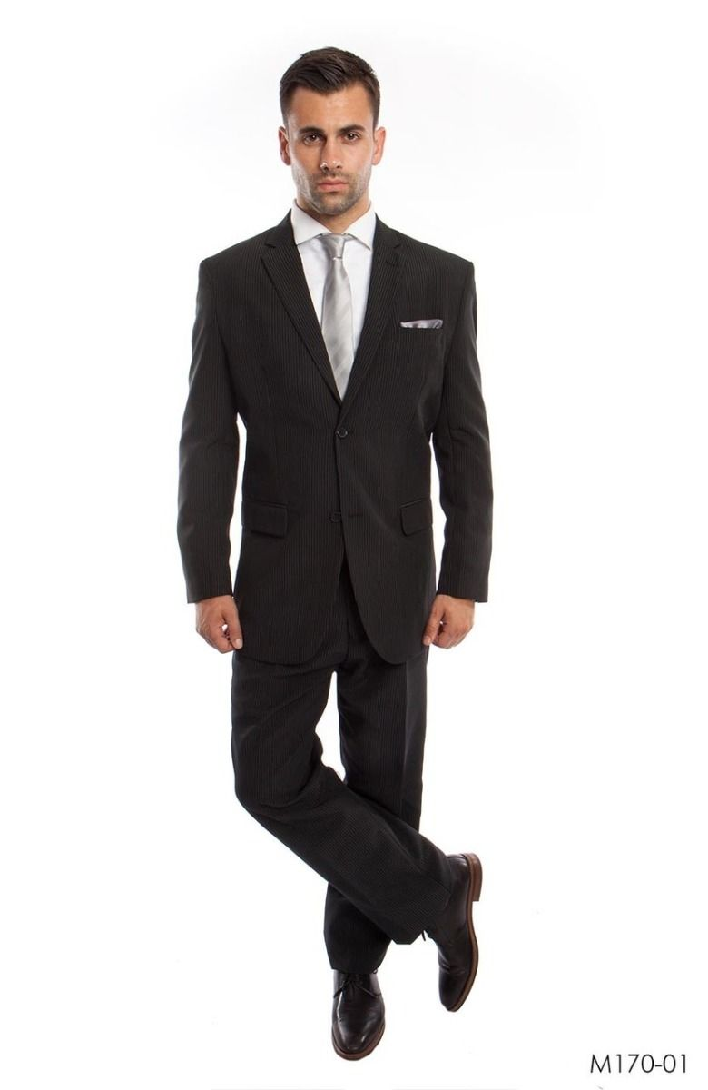 Vitto Men's 2 Piece Tailored Fit Pinstripe Suit - Pleated Pants