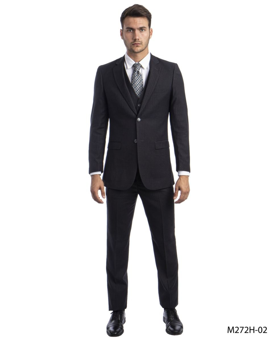 Tazio Men's 3 Piece Pinstripe Suit - Dark Colors
