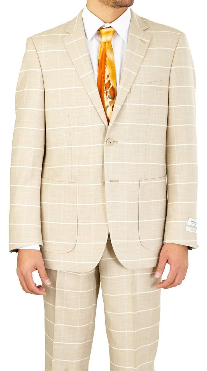 Vittorio St. Angelo Men's Outlet 2 Piece Modern Fit Suit - Windowpane
