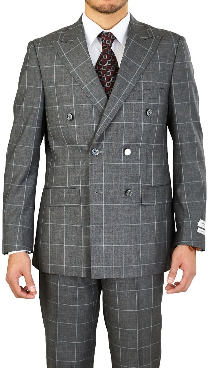 Vittorio St. Angelo Men's 2 Piece Modern Outlet Suit - Double Breasted