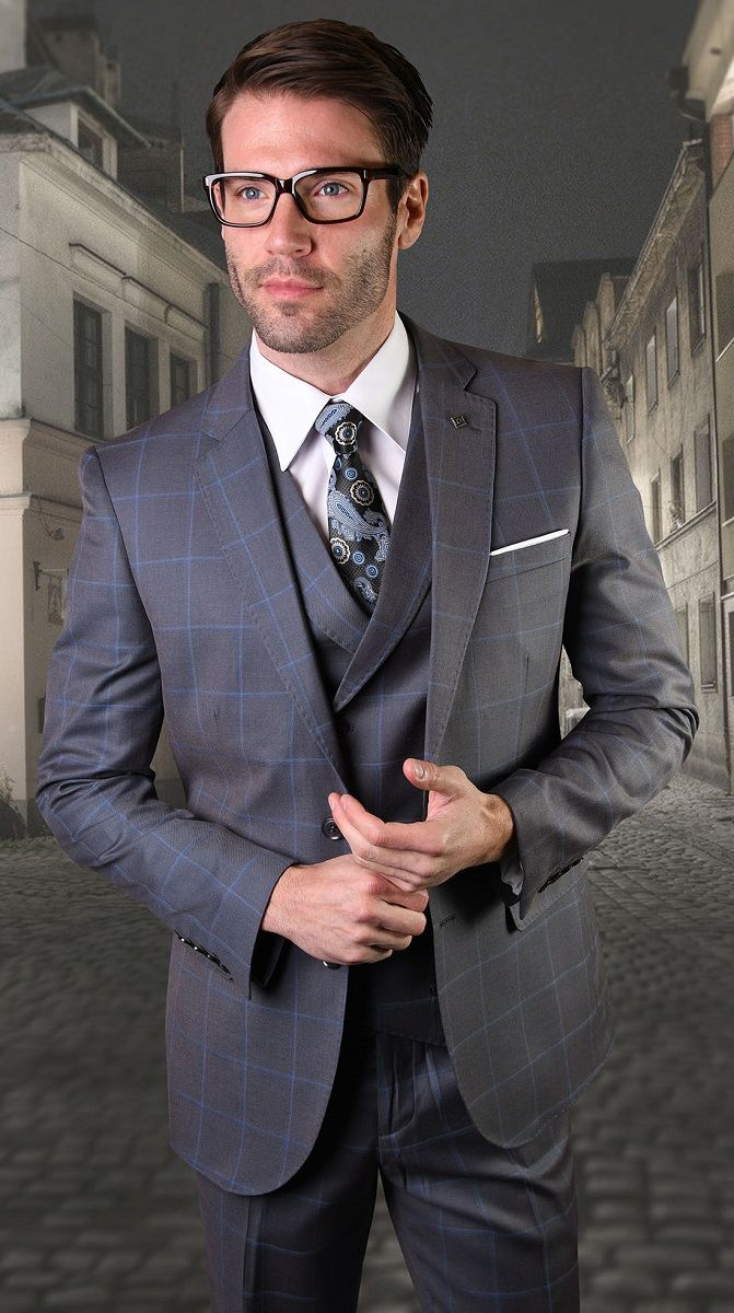 Statement Men's Outlet 3 Piece 100% Wool Suit - Executive Windowpane