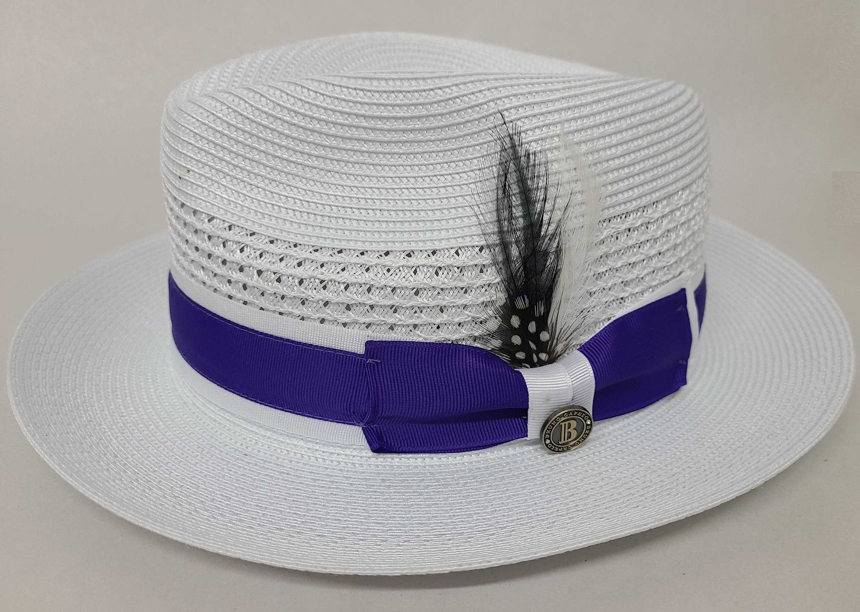 Bruno Capelo Men's Fedora Style Straw Hat - Solid Ribbon Band