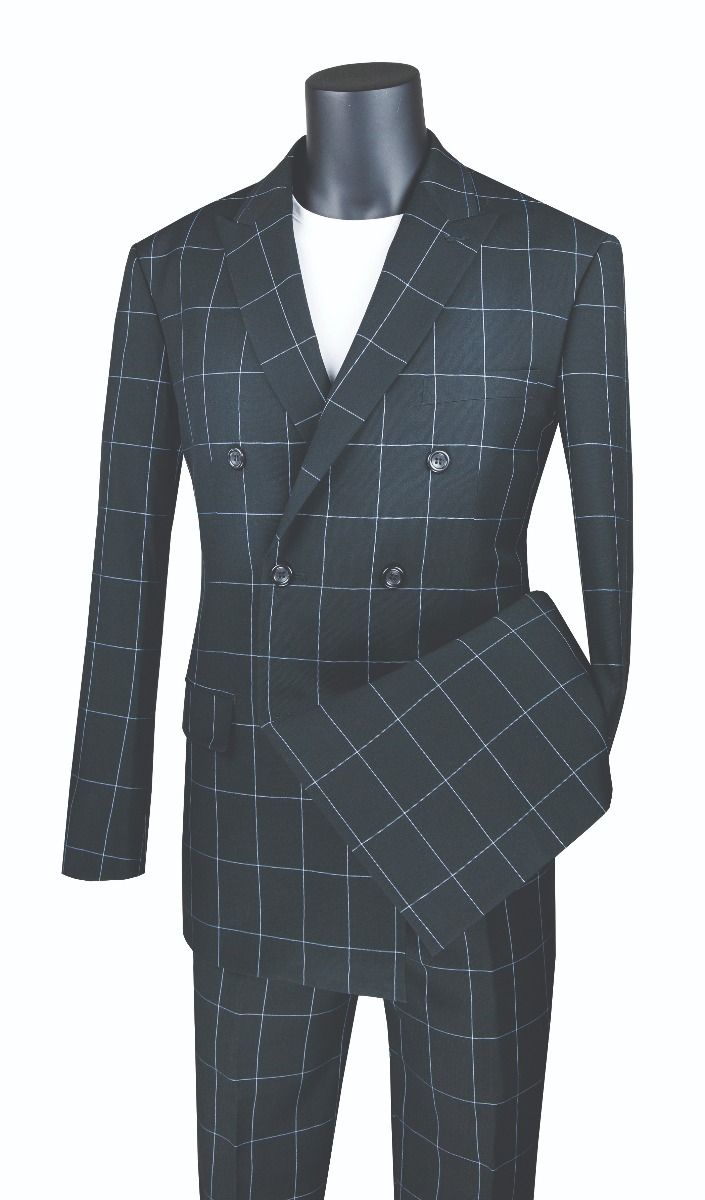 Vinci Men's 2 Piece Modern Fit Suit - Windowpane