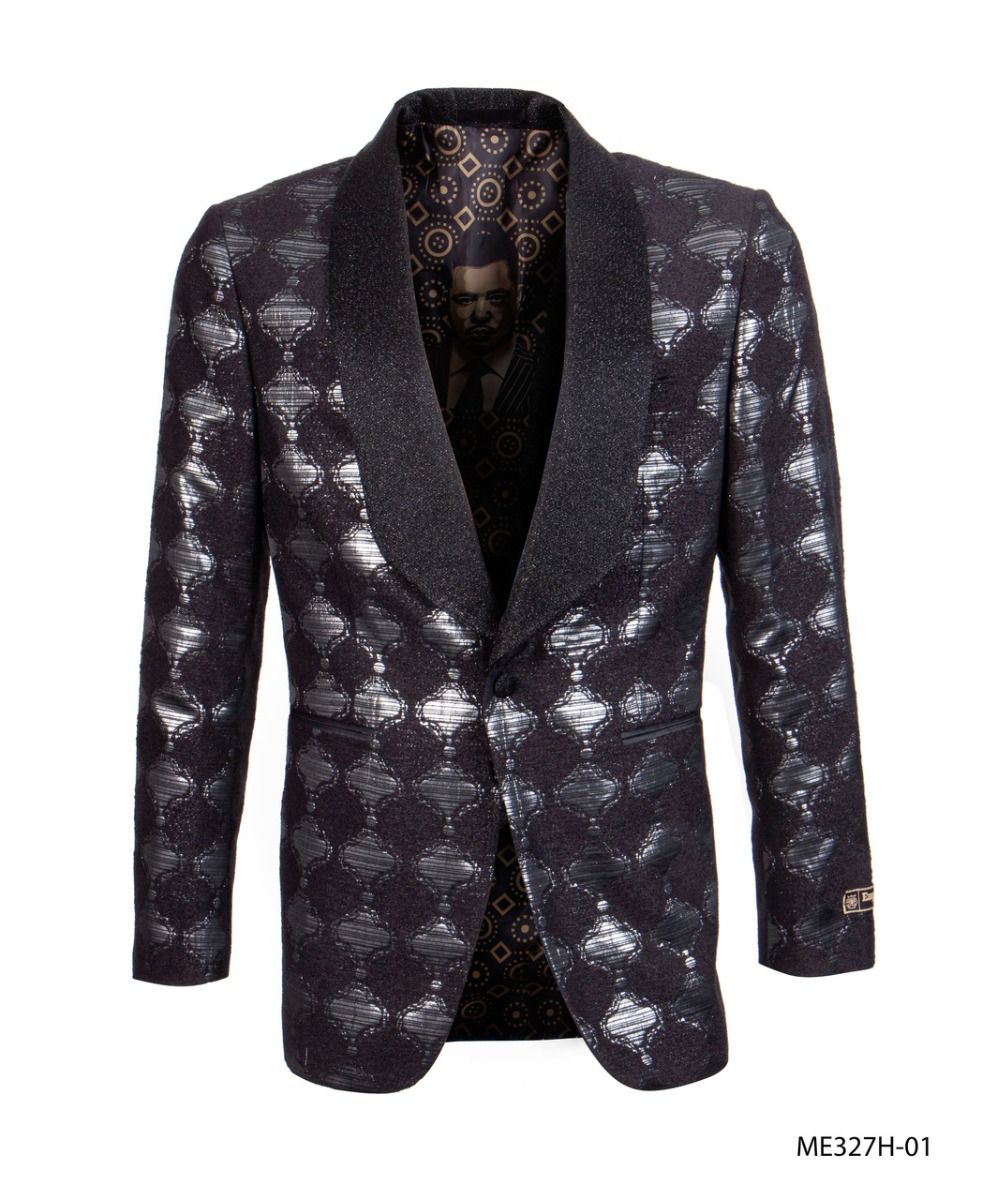 Empire Men's Luxurious Sport Coat - Dark Bubble Pattern
