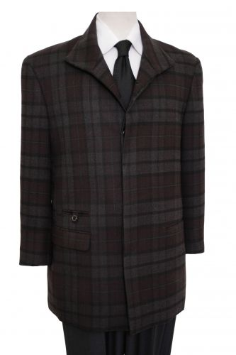 ZeGarie Men's 100% Wool Modern Fit Outlet Coat