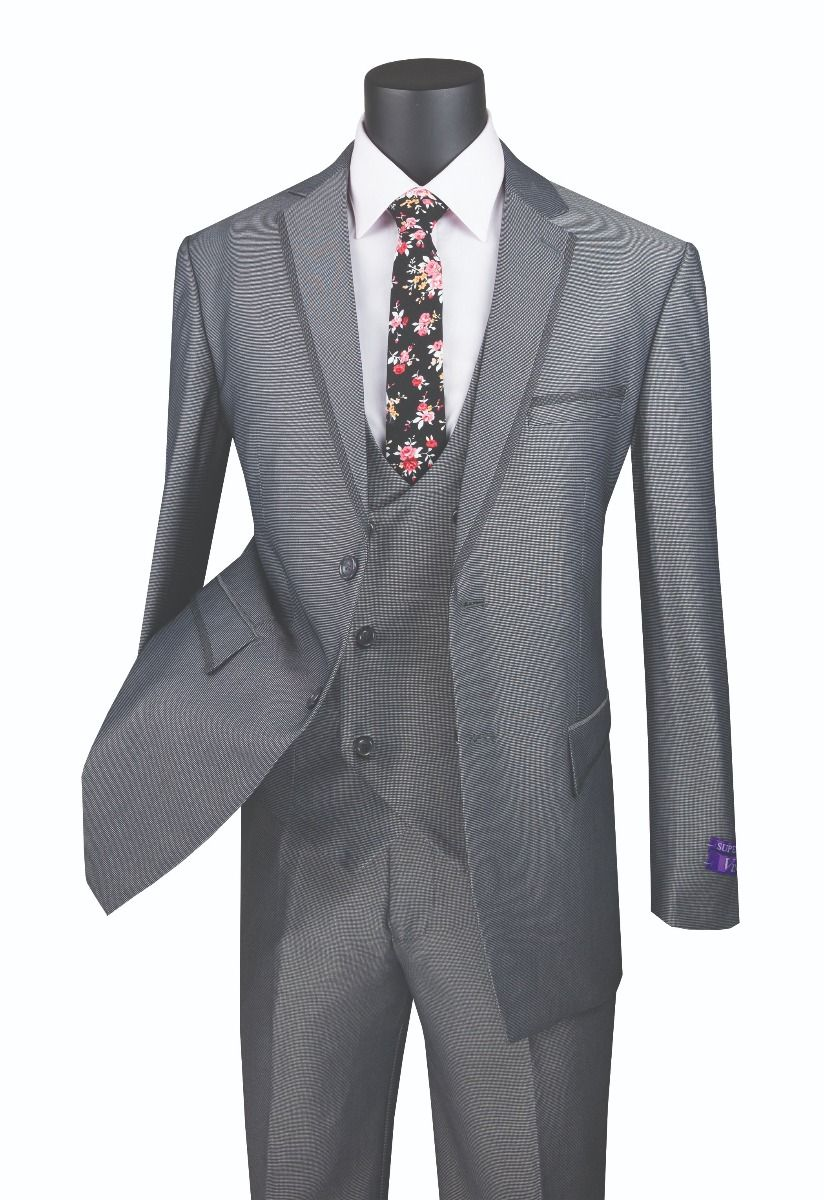 Vinci Men's 3 Piece Modern Fit Suit - Tone on Tone Accents